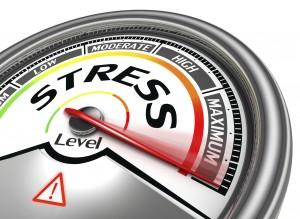 stress level conceptual meter indicating maximum